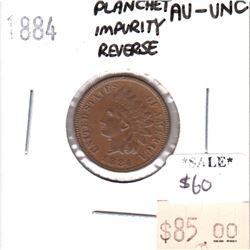 1884 USA Cent AU-UNC (AU-55) Planchet Impurity Reverse