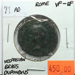 Rome 71 AD Brass Dupondius; Vespasian; VF-EF; Reverse - 'Victoria Navalis SC, Victory Standing on Ga