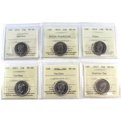 25-cent 2012, 2013 Arctic Expedition, 2015, 2015 Poppy, 2016 & 2017 Stanley Cup ICCS Certified MS-66