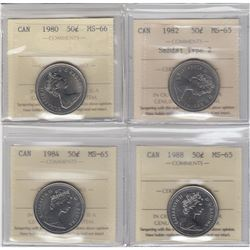 50-cent 1980 MS-66, 1982 SmBds Type 2 MS-65, 1984 MS-65 & 1988 MS-65 all ICCS Certified. 4pcs