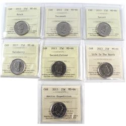 25-cent 2012 & 2013 ICCS Certified MS-66. Included are 2012 Brock, 2012 Tecumseh, 2013 Secord, 2013