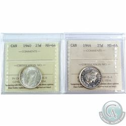 25-cent 1940 & 1944, both ICCS Certified MS-64. 2pcs