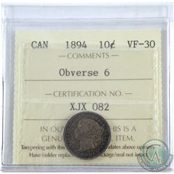 10-cent 1894 Obverse 6 ICCS Certified VF-30.