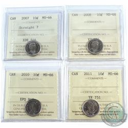 10-cent 2007 Straight 7, 2008, 2010, 2011 ICCS Certified MS-66. 4pcs.