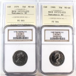 1979 & 1980 Canada 50-cent Cross Graded NGC Certified PL-69 & ICCS Certified MS-68. 2pcs