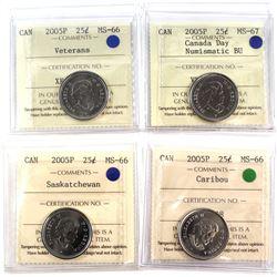 4x 2005P Canada 25-cent ICCS Certified MS-66/67 - 2005P Veterans, 2005P Canada Day MS-67 NBU, 2005P