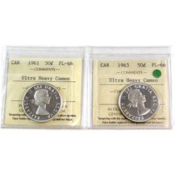 50-cent 1961 & 1963 Both ICCS Certified PL-66 Ultra Heavy Cameo  2pcs.