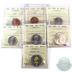 1956-2017 Canada 1-cent to $2 ICCS Certified - 1956 1-cent MS-64 Red, 1969 1-cent MS-63 Red, 1960 5-