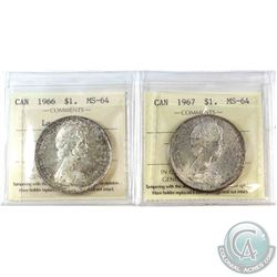 1966 Canada Silver $1 Large Beads ICCS Certified MS-64 & 1967 Silver $1 ICCS MS-64. 2pcs