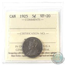 1925 Canada 5-cent ICCS Certified VF-20