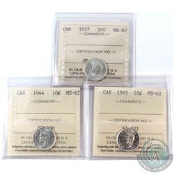 1937, 1944 & 1945 Canada 10-cent ICCS Certified MS-62. 3pcs