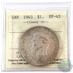 1945 Canada Silver $1 ICCS Certified EF-45