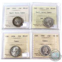 1953-1959 Canada 25-cent ICCS Certified with Cameos - 1953 Small Date MS-62, 1953 Small Date MS-60,