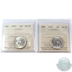 1937 Canada 25-cent ICCS Certified AU-58 & 1938 25-cent ICCS AU-55. 2pcs