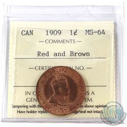 1909 Canada 1-cent ICCS Certified MS-64 Red and Brown