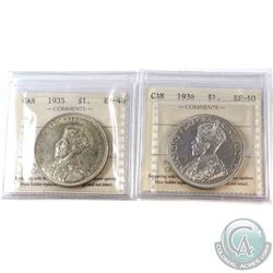 1935 (Cleaned) & 1936 Canada Silver $1 ICCS Certified EF-40. 2pcs