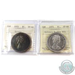 1972 Canada Silver $1 ICCS Certified SP-66 & 1972 Silver $1 Double 972 ICCS SP-66. 2pcs
