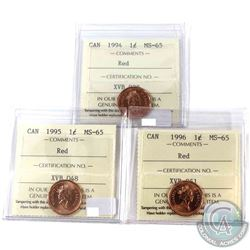 1994, 1995 & 1996 Canada 1-cent ICCS Certified MS-65 Red. 3pcs
