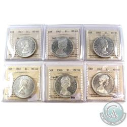 1960-1967 Canada Silver $1 ICCS Certified - 1960 AU-50, 1962 MS-60, 1963 MS-60 Heavy Cameo, 1965 Sma