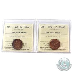 1932 & 1936 Canada 1-cent ICCS Certified MS-63 Red and Brown. 2pcs