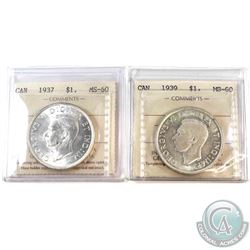 1937 & 1939 (Cameo) Canada Silver $1 ICCS Certified MS-60. 2pcs