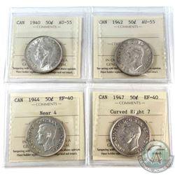 1940-1947 Canada 50-cent ICCS Certified - 1940 AU-55, 1942 AU-55, 1944 Near 4 EF-40 & 1947 Curved Ri