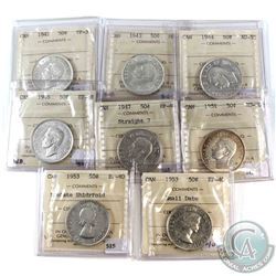 1942-1953 Canada 50-cent ICCS Certified - 1942 VF-30, 1943 MS-60, 1944 AU-55, 1946 EF-45, 1947 Strai