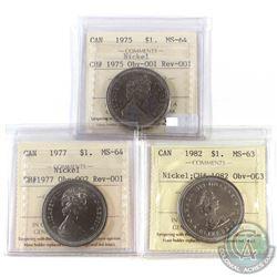 1975 Canada Nickel $1 Obv-001 Rev-001 ICCS Certified MS-64, 1977 Nickel $1 Obv-002 Rev-001 ICCS MS-6