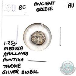 Greece 350 BC Medusa Apollonia Pontika Thrace Silver Diobol. Weighs 1.25g