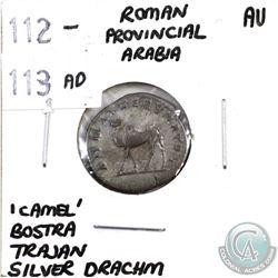 Roman Provincial Arabia 112-113 AD 'Camel' Bostra Trajan Silver Drachm Almost UNC