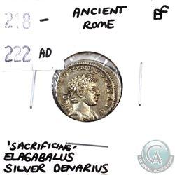 Rome 218-222 AD 'Sacrificing' Elagabalus Silver Denarius Extra Fine