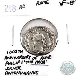 Rome 248 AD 1000th Anniversary of Rome; Philip I 'The Arab'; Silver Antoninianus VF-EF