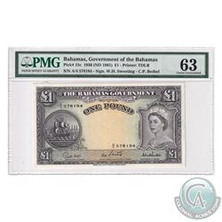 Bahamas 1961 The Bahama's Government One Pound, Pick#15c, Sweeting-Bethel, S/N: A/4 578194. PMG Cert