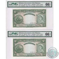 Bahamas - Pair of 1963 The Bahama's Government Four Shillings, Pick#13d, Sweeting-Roberts, S/N: A/6