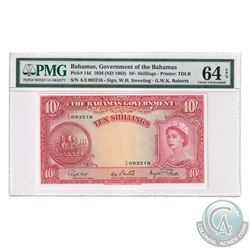 Bahamas 1963 The Bahama's Government 10 Shillings, Pick#14d, Sweeting-Roberts, S/N: A/3 093216. PMG
