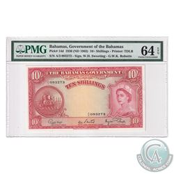 Bahamas 1963 The Bahama's Government 10 Shillings, Pick#14d, Sweeting-Roberts, S/N: A/3 093273. PMG