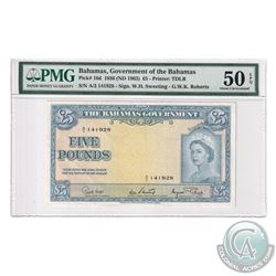 Bahamas 1963 The Bahama's Government Five Pound, Pick# 16d, Sweeting-Roberts, S/N: A/2141928. PMG Ce