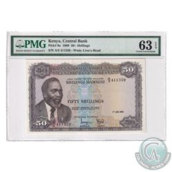 Kenya 1969 Central Bank 50 Shillings, Pick#9a, S/N: A/5 411359, Water Mark, Lion's Head. PMG Certifi