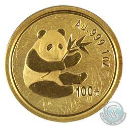 China 2000 Panda Gold 1oz 100 Yuan .999 Fine struck in Proof (Tax Exempt)