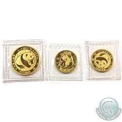 China 1983 Panda Gold 1/10oz, 1983 1/20oz & 1985 1/20oz (Tax Exempt). Sealed in original plastic pli