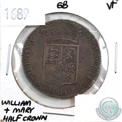 Great Britain 1689 William & Mary Half Crown VF+.