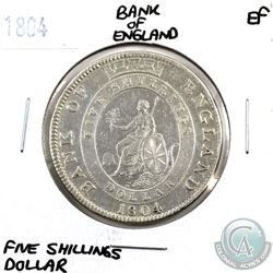 Great Britain 1804 Bank of England 5 Shillings Dollar Extra Fine