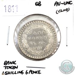 Great Britain 1811 Bank Token One Shilling 6 Pence AU-UNC (lightly cleaned). Beautiful colouring and