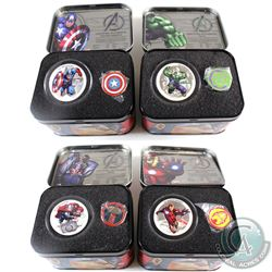 New Zealand Mint Issue: 2014 Niue $2 Marvel 1oz 4-coin Fine Silver Set in Individual Tin Boxes with