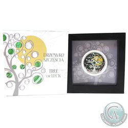 Poland Mint Issue: 2017 Niue $1 Tree of Luck Fine Silver Coin Featuring Natural Malachite. Limited t