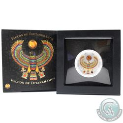 Poland Mint Issue: 2017 Niue $2 Falcon of Tutankhamun 2oz Fine Silver Proof Coin Featuring 3 Natural