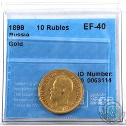 Russia 1899 10 Roubles Gold CCCS EF-40.