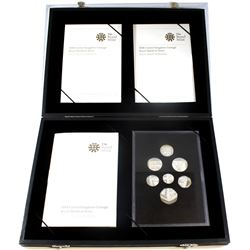 United Kingdom 2008 Royal Shield of Arms 7-coin Silver Proof Collection. Please note coins are toned