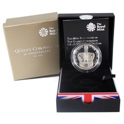 United Kingdom 2013 5-Pound the 60th Anniversary of the Queen's Coronation Silver Piedfort Coin. Ple