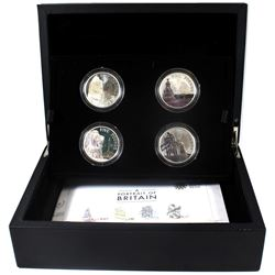 United Kingdom 2014 5-Pound Portrait of Britain 4-coin Sterling Silver Set. Please note coins contai